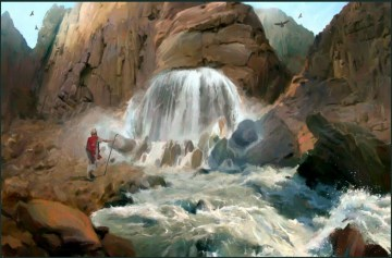 MOSES STRIKING WATER IN THE ROCK-14X9